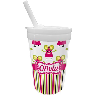 Pink Monsters & Stripes Sippy Cup with Straw (Personalized)