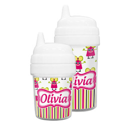 Pink Monsters & Stripes Sippy Cup (Personalized)