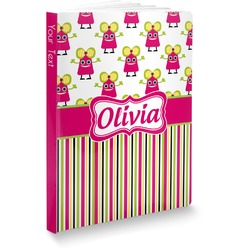 """Pink Monsters & Stripes Softbound Notebook - 7.25"""" x 10"""" (Personalized)"""