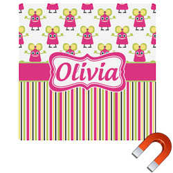 Pink Monsters & Stripes Square Car Magnet (Personalized)