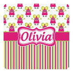 Pink Monsters & Stripes Square Decal (Personalized)