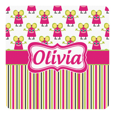 Pink Monsters & Stripes Square Decal - Custom Size (Personalized)
