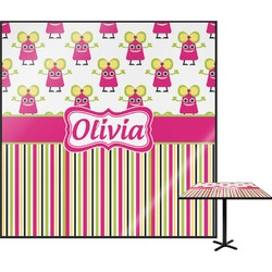 Pink Monsters & Stripes Square Table Top (Personalized)