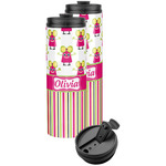 Pink Monsters & Stripes Stainless Steel Skinny Tumbler (Personalized)