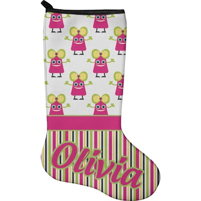 Pink Monsters & Stripes Holiday Stocking - Neoprene (Personalized)