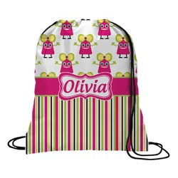 Pink Monsters & Stripes Drawstring Backpack (Personalized)