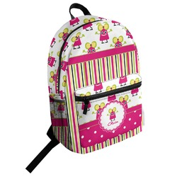 Pink Monsters & Stripes Student Backpack (Personalized)