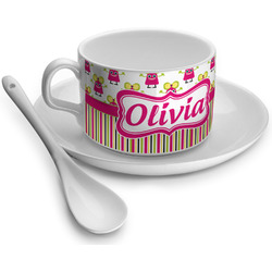 Pink Monsters & Stripes Tea Cup - Single (Personalized)