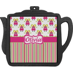Pink Monsters & Stripes Teapot Trivet (Personalized)