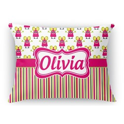Pink Monsters & Stripes Rectangular Throw Pillow (Personalized)