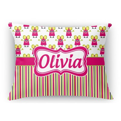 Pink Monsters & Stripes Rectangular Throw Pillow Case (Personalized)