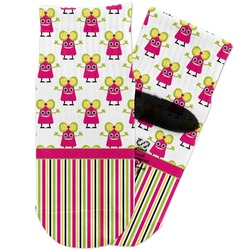 Pink Monsters & Stripes Toddler Ankle Socks (Personalized)