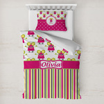 Pink Monsters & Stripes Toddler Bedding w/ Name or Text