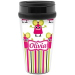 Pink Monsters & Stripes Travel Mug (Personalized)