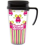 Pink Monsters & Stripes Travel Mug with Handle (Personalized)