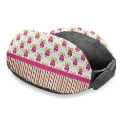 Pink Monsters & Stripes Travel Neck Pillow (Personalized)