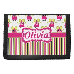 Pink Monsters & Stripes Trifold Wallet (Personalized)