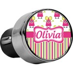 Pink Monsters & Stripes USB Car Charger (Personalized)