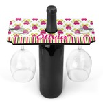 Pink Monsters & Stripes Wine Bottle & Glass Holder (Personalized)