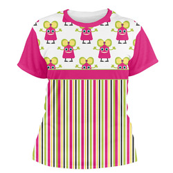 Pink Monsters & Stripes Women's Crew T-Shirt (Personalized)