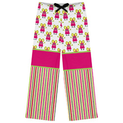 Pink Monsters & Stripes Womens Pajama Pants (Personalized)
