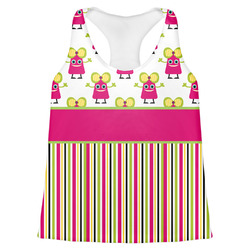 Pink Monsters & Stripes Womens Racerback Tank Top (Personalized)