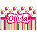 Pink Monsters & Stripes Woven Mat (Personalized)