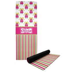 Pink Monsters & Stripes Yoga Mat (Personalized)