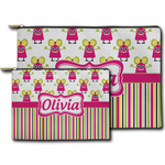 Pink Monsters & Stripes Zipper Pouch (Personalized)