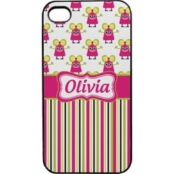 Pink Monsters & Stripes Plastic 4/4S iPhone Case (Personalized)