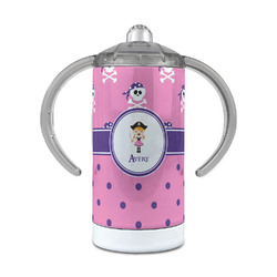 Pink Pirate 12 oz Stainless Steel Sippy Cup (Personalized)
