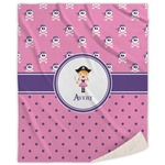 Pink Pirate Sherpa Throw Blanket (Personalized)