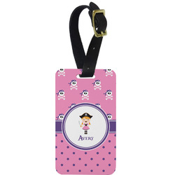 Pink Pirate Aluminum Luggage Tag (Personalized)