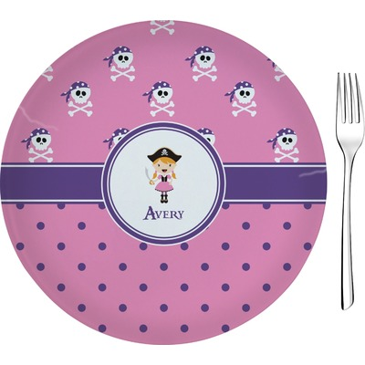 """Pink Pirate 8"""" Glass Appetizer / Dessert Plates - Single or Set (Personalized)"""