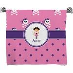 Pink Pirate Full Print Bath Towel (Personalized)