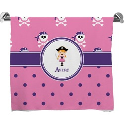 Pink Pirate Full Print Bath Towel (Personalized)