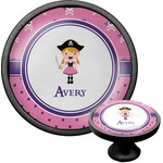 Pink Pirate Cabinet Knob (Black) (Personalized)