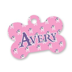Pink Pirate Bone Shaped Dog Tag (Personalized)