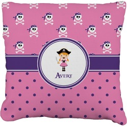 """Pink Pirate Faux-Linen Throw Pillow 16"""" (Personalized)"""