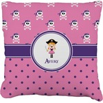 Pink Pirate Burlap Throw Pillow (Personalized)