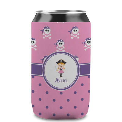 Pink Pirate Can Sleeve (12 oz) (Personalized)