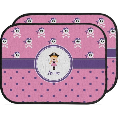 Pink Pirate Car Floor Mats (Back Seat) (Personalized)