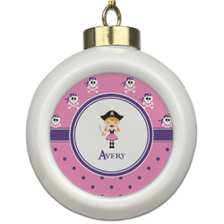 Pink Pirate Ceramic Ball Ornament (Personalized)