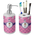 Pink Pirate Bathroom Accessories Set (Ceramic) (Personalized)