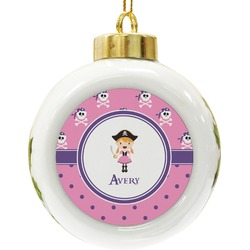 Pink Pirate Ceramic Ball Ornament (Personalized)