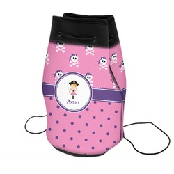 Pink Pirate Neoprene Drawstring Backpack (Personalized)