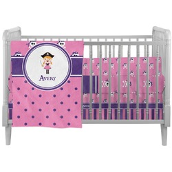 Pink Pirate Crib Comforter / Quilt (Personalized)