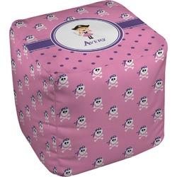 Pink Pirate Cube Pouf Ottoman (Personalized)