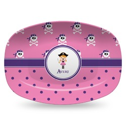 Pink Pirate Plastic Platter - Microwave & Oven Safe Composite Polymer (Personalized)
