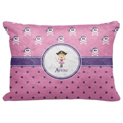 "Pink Pirate Decorative Baby Pillowcase - 16""x12"" (Personalized)"